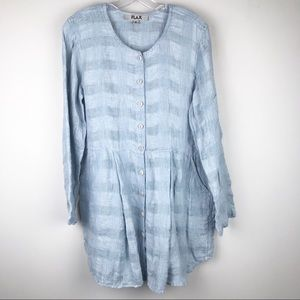 FLAX Lagenlook Button Up Tunic Top Blue Pleats S